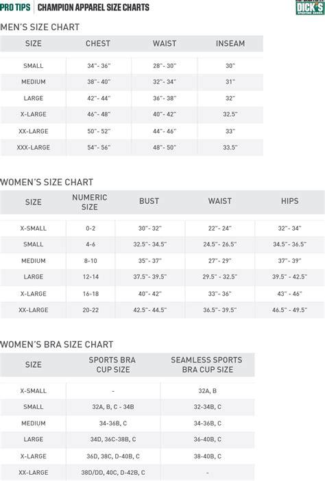 champion apparel size chart pro tips  dicks sporting