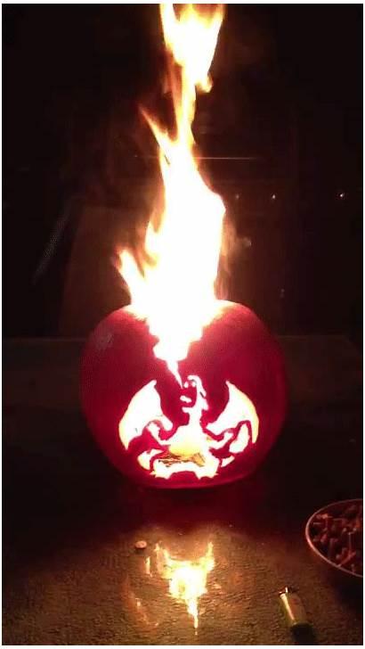 Charizard Pumpkin Flaming Jack Halloween Pokemon Lantern