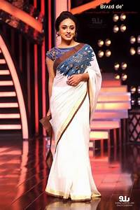 Pearly Maaney in a Bru028cu026ad deu0026#39; Kerala Saree - Crochet On chest  Denim Blouse | Kerala Saree ...