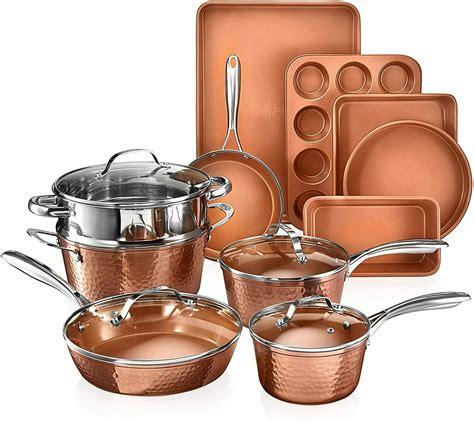 gotham steel hammered copper  piece nonstick cookware set    tv ebay