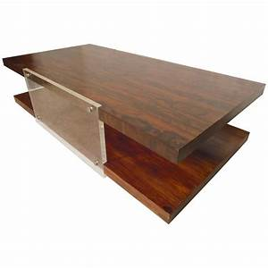 Large rosewood and lucite coffee table for sale at 1stdibs for Acrylic coffee tables for sale