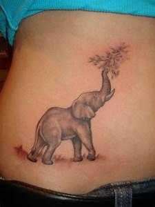 Up Trunk Grey Elephant Tattoo On Waist
