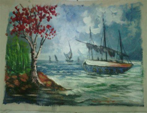 jual lukisan pemandangan alam pantai id gallery tokopedia