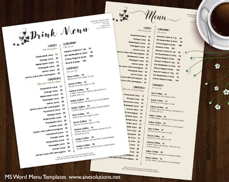 drink menu template 37 wedding menu template free sle exle format free premium templates