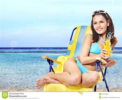 Bikini Drink Girl In Bikini Drinking Cocktail Stock Images Image