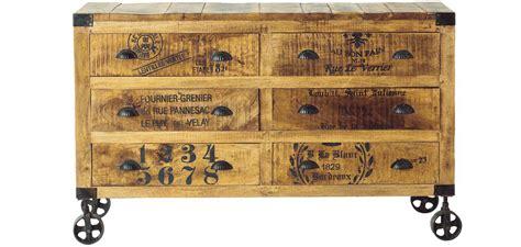 commode de cuisine commode vintage industriel à roulettes bois 6 tiroirs