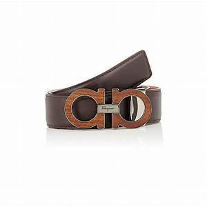 Ferragamo Men's Wood-inlaid Double Gancini-buckle Belt in ...