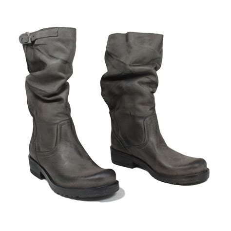 real leather biker boots biker boots in genuine leather gray fall winter