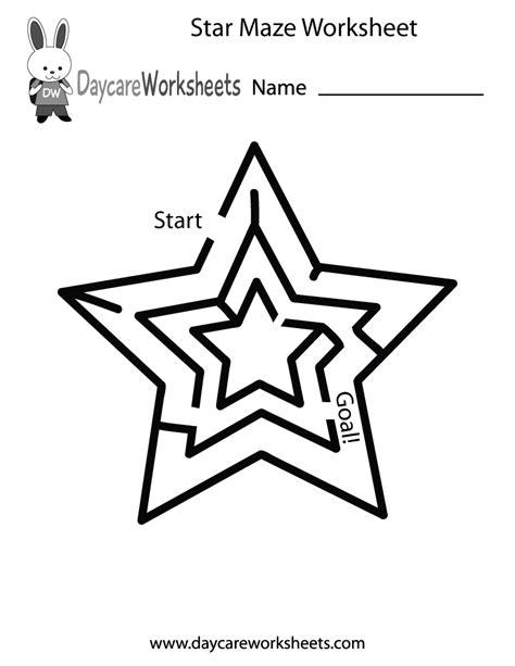 free preschool maze worksheet 986 | star maze worksheet printable