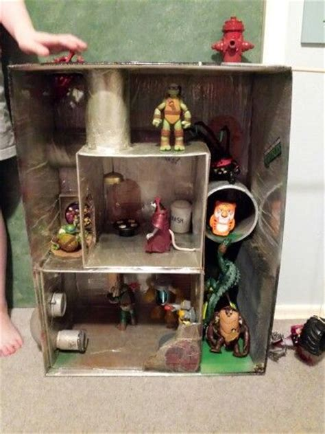 loved tmnt playset homemade  recycled junk  art  buckburning doll house