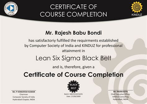 Six Sigma Black Belt Certificate Template Erieairfair