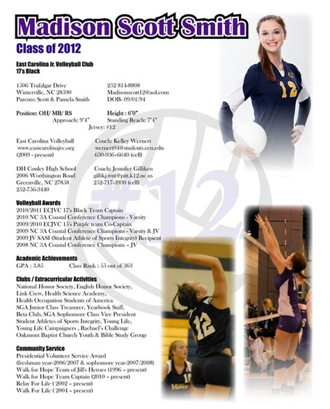 Athletic Resume For College by Resumes Ibelieveposters
