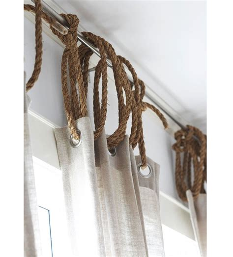 rope curtain rod diy rope as curtain ring remodelista