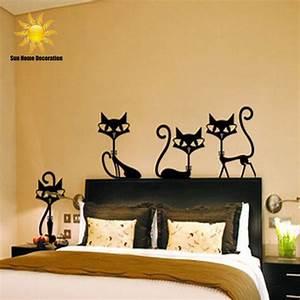 Black fashion wall stickers cat living room
