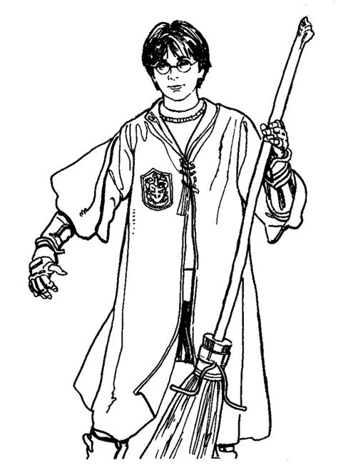 Harry Potter at Quidditch Championship Coloring Page NetArt
