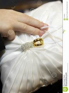 wedding rings on ring bearer pillow stock image image With how to make a wedding ring pillow