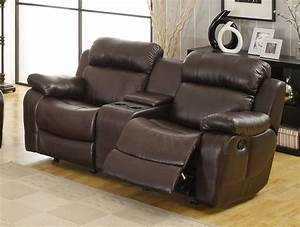 186800 marille 2pc reclining sofa set in dark brown for Leather sectional recliner sofa with cup holders