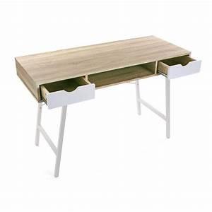 Bureau Bois Et Metal : table de bureau scandinave bois et metal blanc versa ~ Teatrodelosmanantiales.com Idées de Décoration