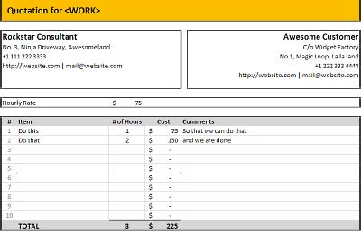 excel quote template free excel quotation templates prepare and print quotations quotes in ms excel