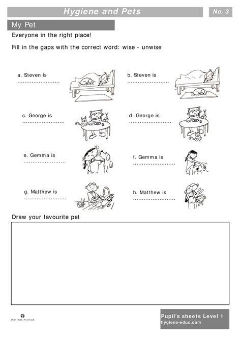 hygiene  pets worksheets  kids level  personal