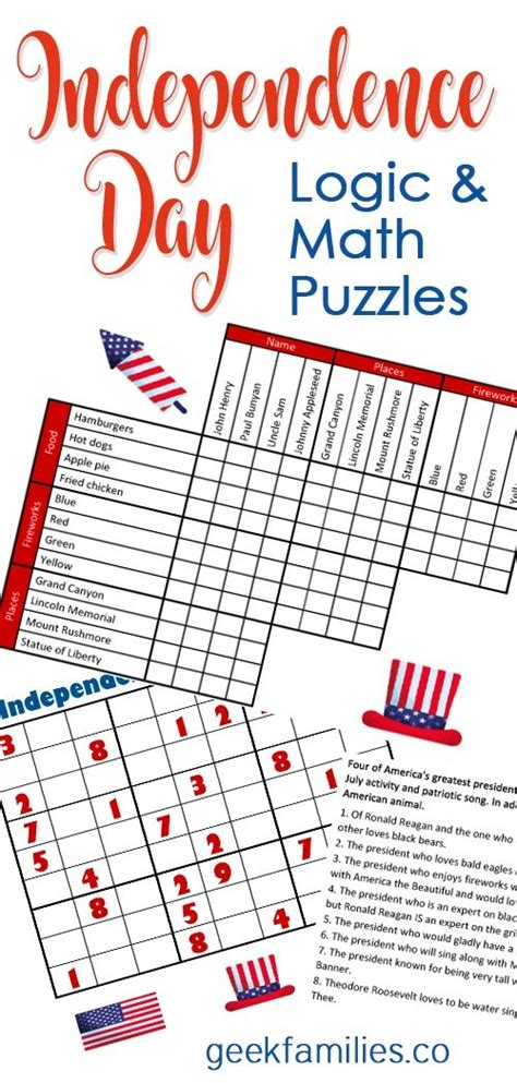independence day math  logic puzzles  images