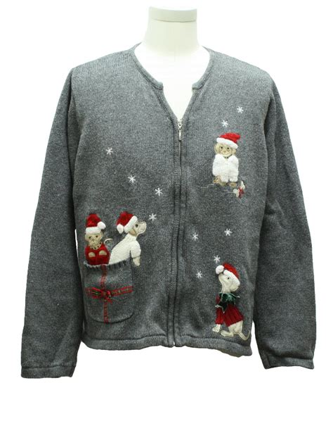 womens ugly christmas sweater crazy horse womens gray