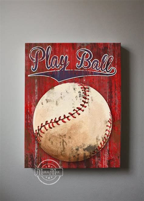 baseball art sports nursery canvas art baseball  muralmax