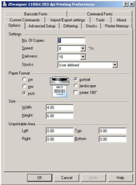 zebradesigner driver printer configuration printing
