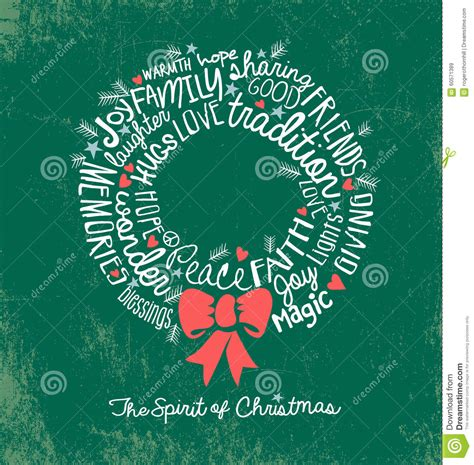 handwritten word cloud christmas wreath holiday greeting card stock vector image 60571389