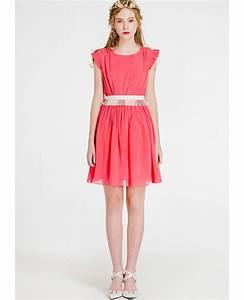 cap sleeves watermelon chiffon short wedding guest dress With chiffon wedding guest dress