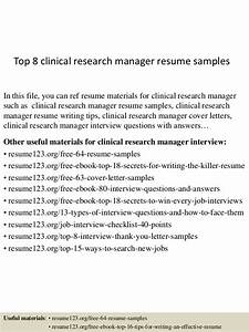 top 8 clinical research manager resume samples With clinical research manager