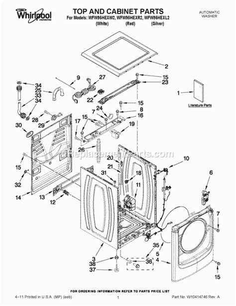 whirlpool wfw95hexw2 parts list and diagram ereplacementparts