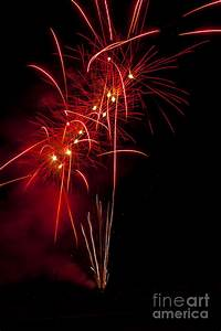 Red Fireworks Photograph by Mandy Judson