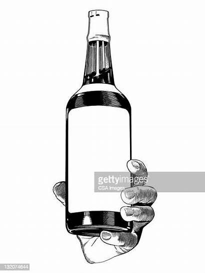 Bottle Beer Liquor Holding Hand Illustrations Clipart