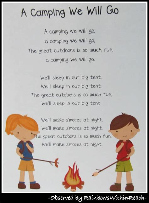 quot camping quot campout at preschool drseussprojects 922 | Camping Song