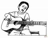 Guitar Coloring Pages Playing Boy Player Cartoon Drawing Printable Clipart Boys Plays Cliparts Outline Colouring Play Clip Pencil Rock Getdrawings sketch template