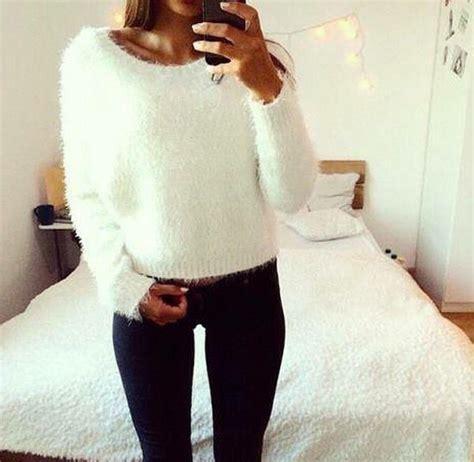 Womens Ladies White Fluffy Knitted Mohair Soft Lorex Fur