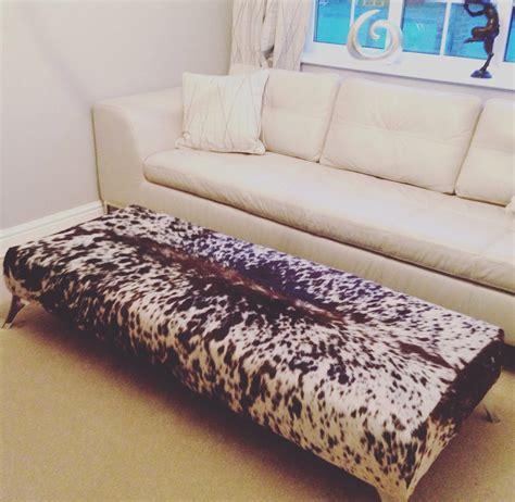 large genuine cowhide coffee table footstool