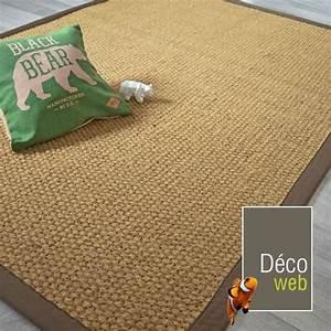 tapis coco delhi panama ganse coton marron 140 x 200 With tapis de coco