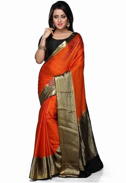 Saree Silk Mysore Orange Colour Pure Border