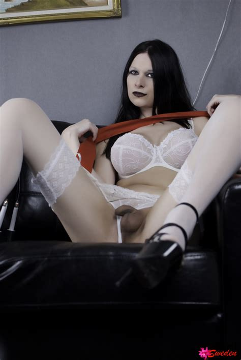 kinky brunette shemale hannah sweden in garter stockings and white lingerie shemaletubevideos