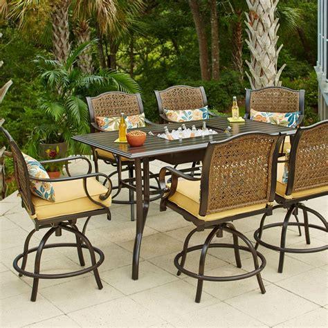 tall patio table set hton bay vichy springs 7 piece patio high dining set