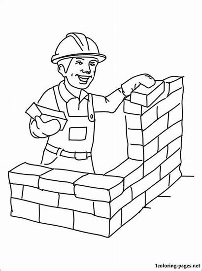 Coloring Construction Builder Worker Pages Site Printable
