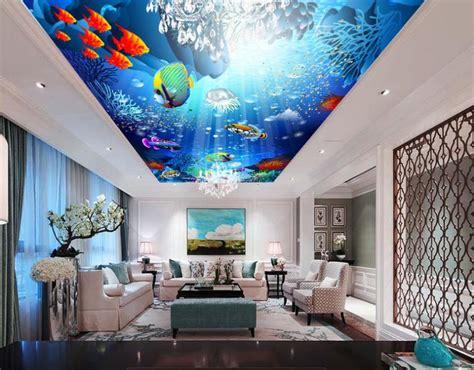 3D Ceiling tiles The underwater world 3D Wallpaper Custom