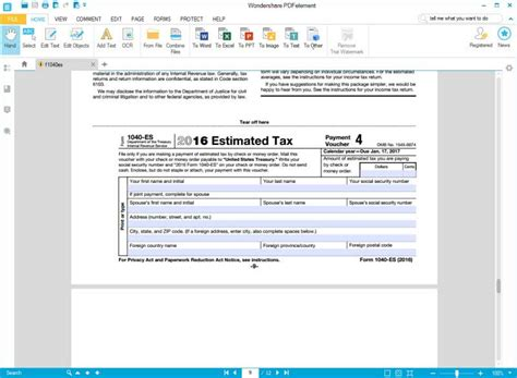 irs form 1040 es wondershare pdfelement to the rescue