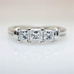 3 stone princess cut diamond engagement ring wedding ring With wedding band for 3 stone ring