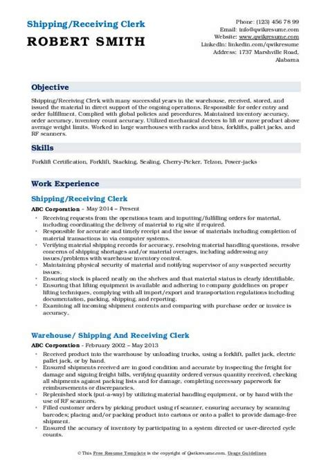 Shipping Clerk Resume by Receiving Clerk Resume Sles Qwikresume