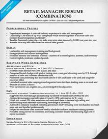 retail sales manager description resume combination resume sles resume companion
