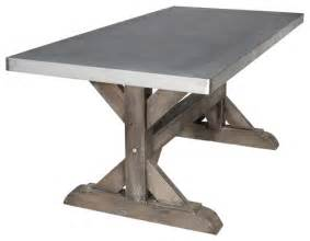 8 Person Outdoor Dining Table by Zinc Farm Trestle Table Rustic Sand 6 Industrial