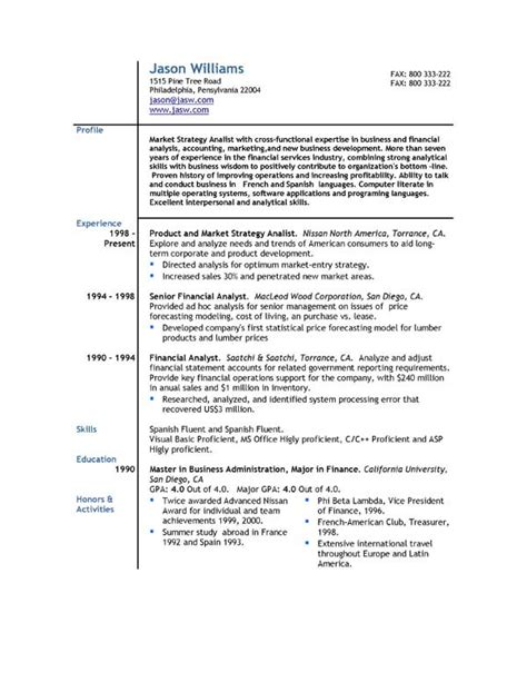 Free Format Of Resume by Sle Resume 85 Free Sle Resumes By Easyjob Sle